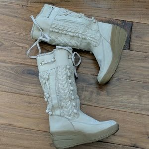 Juicy Couture wedge side & knit sweater boots